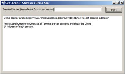 Client IP demo app screenshot