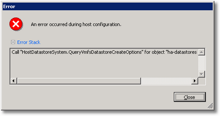 Call HostDatastoreSystem.QueryVmfsDatastoreCreateOptions for object ha-datastoresystem on ESX failed.