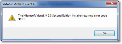 The Microsoft Visual J# 2.0 Second Edition installer returned the error code '4113'