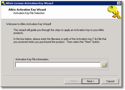 Altiris License Activation Key Wizard