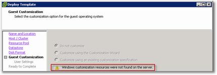 Windows customization resources were not found on the server