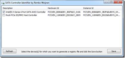 SATA Controller Identifier Screenshot