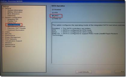 Dell Precision M4500 BIOS SATA Operation Mode AHCI
