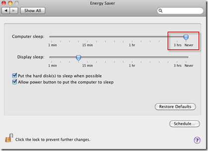 System Preferences | Enery Saver | Computer Sleep | Never