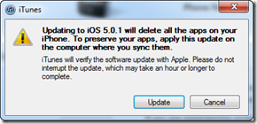 Updating to iOS 5.0.1 will delete all the apps on your iPhone. To preserve your apps, apply this update on the computer where you sync them.