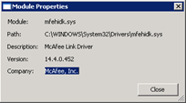mfehidk.sys | McAfee Link Driver