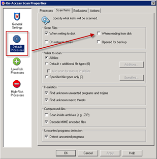 McAfee On-Access Scan Properties | Default processes | Scan Items | When reading from disk