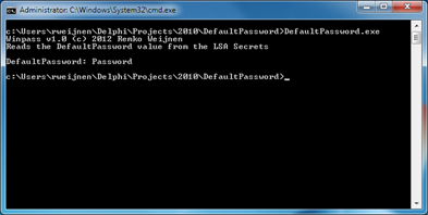 DefaultPassword from LSA Secrets