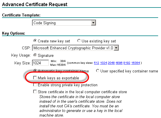 Trick to export private key from certificate request remko lets test if this really works click mark keys as exportable submit the request and click on install this certificate yadclub Image collections