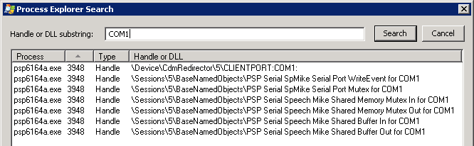 cdmredirector is the client device mapping redirector from citrix so it appears that our com port is already connected to the psp6164aexe process