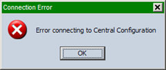 Error connecting to Central Configuration