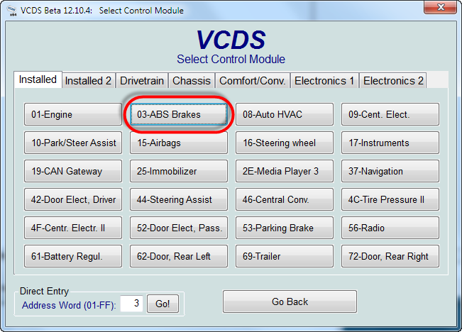 Active XDS on VW Passat B7 with VCDS