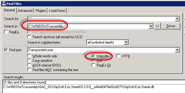 Total Command   Find Files Dialog
