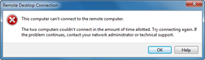 The two computers couldn't connect in the amount of time allocated. Try connecting again. If the problem continues, contact your network administrator or technical support.