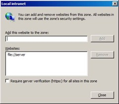 You can add and remove websites from this zone. All websites in this zone will use the zone's security settings.