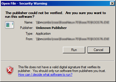 The publisher could not be verified. Are you sure you want to run this software?