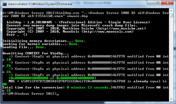 Extract Windows passwords from VMware  vmem file