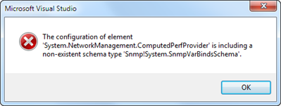 The configuration of element 'System.NetworkManagement.ComputedPerfProvider' is including a non-existent schema type 'Snmp!System.SnmpVarBindsSchema'