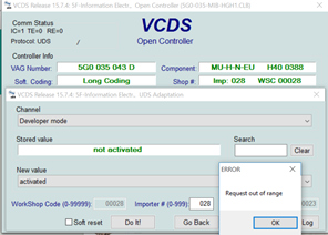 VCDS | Discover Pro | Adaptation | Developer Mode | Request out of range