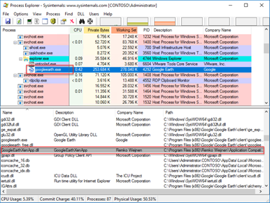 Process Explorer | Lower Pane | DLL View