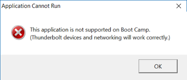 This application is not supported on Boot Camp. (Thunderbolt devices and networking will work correctly.)