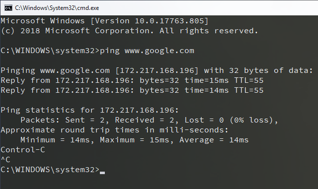 Command prompt showing that ping to www.google.com works fine.ping www.google.comPinging www.google.com [172.217.168.196] with 32 bytes of data: Reply from 172.217.168.196: bytes=32 time=15ms TTL=55 Reply from 172.217.168.196: bytes=32 time=14ms TTL=55Ping statistics for 172.217.168.196: Packets: Sent = 2, Received = 2, Lost = 0 (0% loss), Approximate round trip times in milli-seconds: Minimum = 14ms, Maximum = 15ms, Average = 14ms