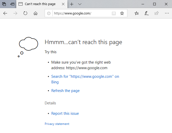 "Edge browser with error message ""Can't reach this page"""